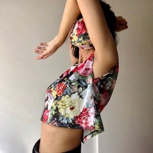 Floral Muscle Tee + Face Mask
